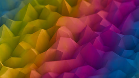 Colorful low poly surface 3D render VJ loop animation CG動画