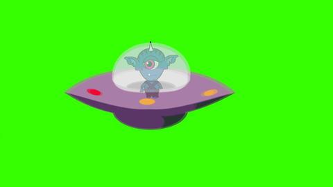 Cartoon Space Alien in UFO: Looping + Matte Animation
