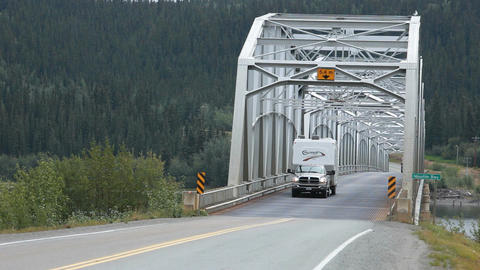 Bridge recreation vehicle cross Canada Alaskan Highway P HD 0122 Footage