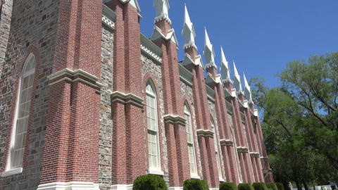 Brigham City Utah Tabernacle tilt up to steeple 4K 008 Footage