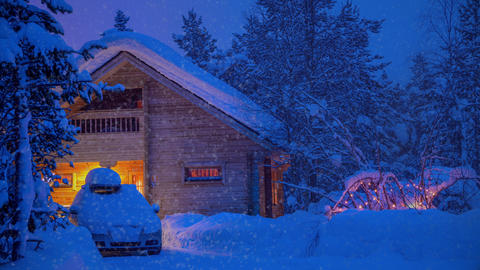 House and a Car in the Evening Forest and Snowfall. UHD Footage