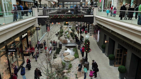 Busy luxury shopping mall Christmas fast timelapse HD 0265 Footage