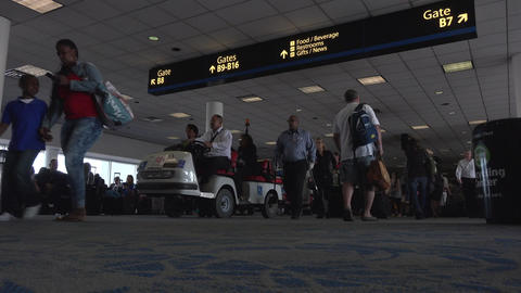 Busy crowd Dulles International Airport passenger terminal fast 4K 047 Footage