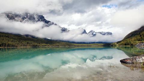 Canada glacial lake mountains P HD 7534 Footage