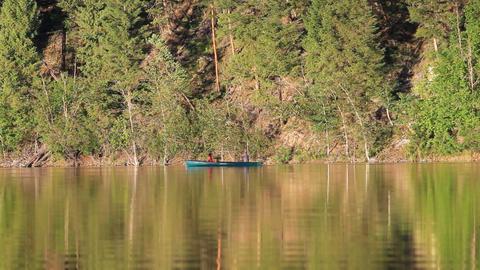 Canoe mountain lake paddle P HD 1150 Footage