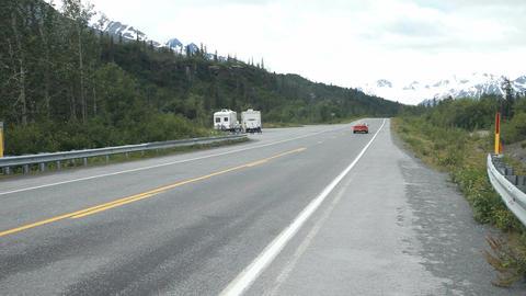 Car passing Alaska road P HD 8469 Live Action