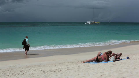 Caribbean Antigua Island beautiful beach couple HD 1219 Live Action