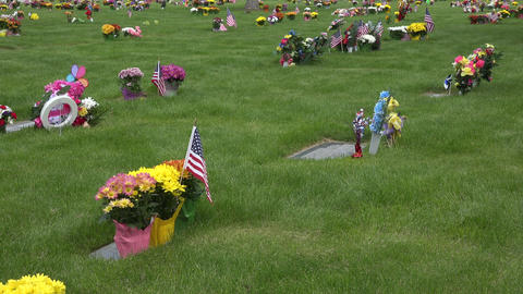 Cemetery Memorial day flowers flags at graves 4K 013 Footage