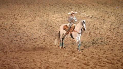 Charro cowboy horse bow P HD 1099 Footage