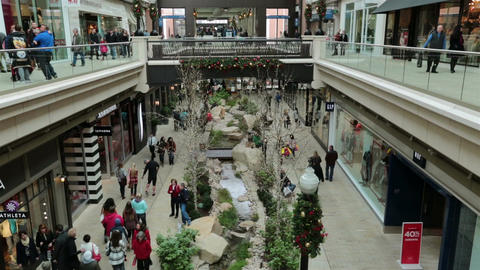 Christmas shopping indoor luxury mall HD 0243 Stock Video Footage