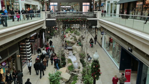 Christmas shopping indoor luxury mall HD 0243 Footage