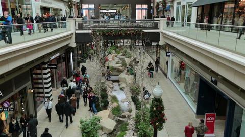 Christmas shopping indoor luxury mall HD 0243 Footage