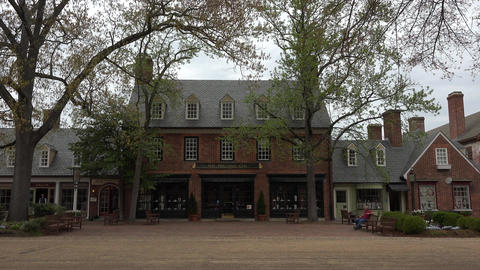 Colonial Williamsburg Virginia main street tourist shops 4K 016 Footage