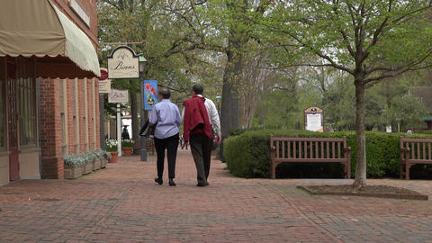 Colonial Williamsburg Virginia main street shoppers 4K 019 Footage