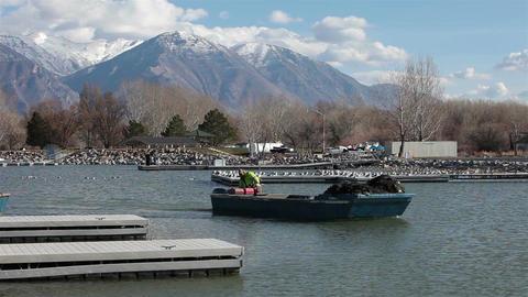 Commercial carp fishing barges Utah State Park lake 1 HD 0787 Footage