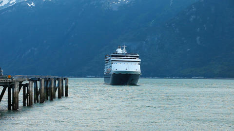 Cruise ship leaving marina port in Skagway P HD 0003 Footage