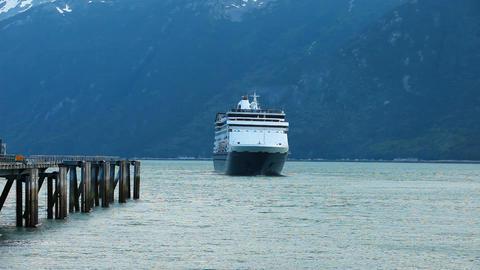Cruise ship leaving marina port in Skagway P HD 0003 Footage
