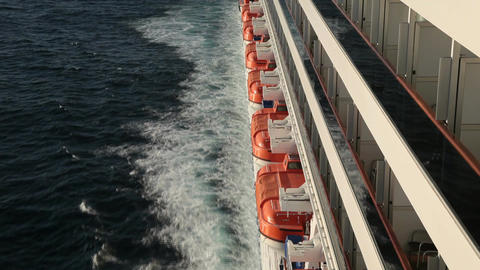 Cruise ship side balcony liferaft Ocean P HD 4298 Footage
