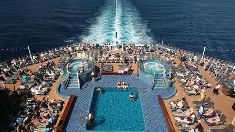 Cruise ship swimming pools ocean P HD 4440 Footage