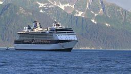 Cruise ship turning at Seward Alaska P HD 1629 Footage