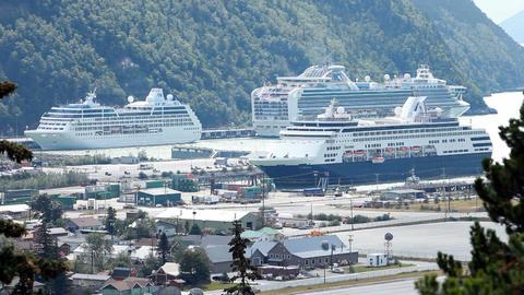 Cruise ships at Skagway Alaska P HD 8764 Footage