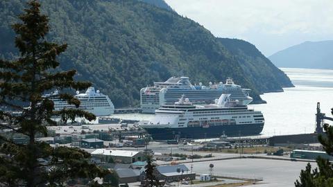 Cruise ships in Skagway Alaska P HD 8757 Footage
