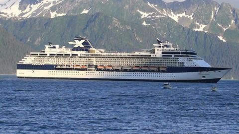 Cruise ship fish boats Seward Alaska P HD 1631 Footage