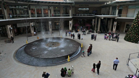 Dancing water fountain luxury shopping mall HD 0255 Footage