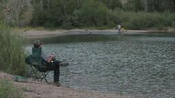 Don fishing sitting P HD 1769 Footage