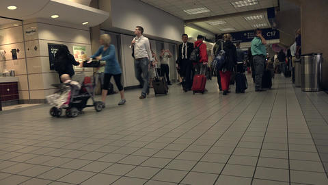 Dallas Airport passenger terminal busy crowd 4K Footage