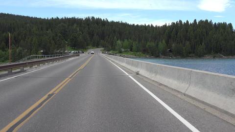 Drive POV Jackson Lake Dam Grand Tetons Wyoming 4K Footage