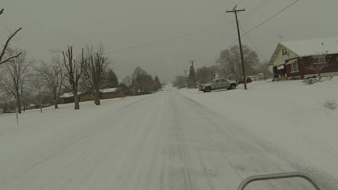 Driving ATV rural town neighborhood winter snow POV HD 0225 Footage