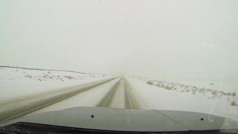 Driving POV winter snow blizzard rural farms HD 003 Archivo