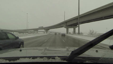 Driving highway winter snow storm over pass bridge POV HD 0218 Footage