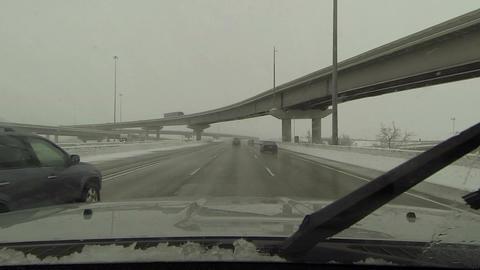 Driving highway winter snow storm over pass bridge POV HD 0218 Footage