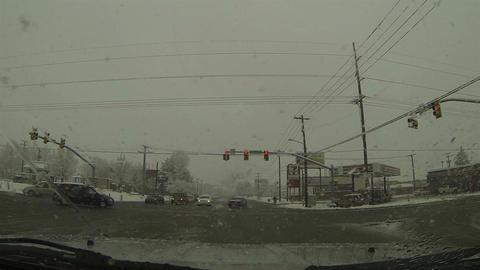 Driving winter blizzard urban city street POV HD 0212 Footage