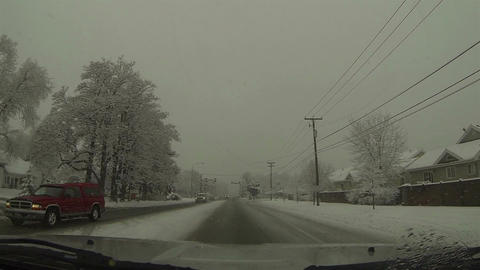 Driving winter snow storm urban city street POV HD 0212 Footage
