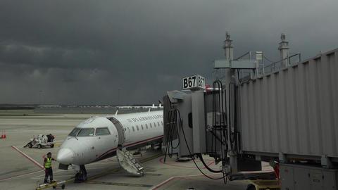 Dulles International Airport aircraft arrive gate Washington DC 4K 025 Footage