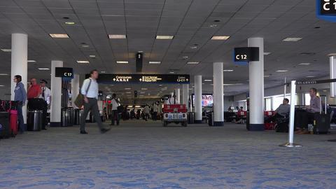 Dulles International Airport passenger gate hallway fast 4K 037 Footage