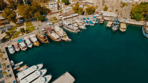 Aerial Vertical View of Sea Port With Yachts Footage