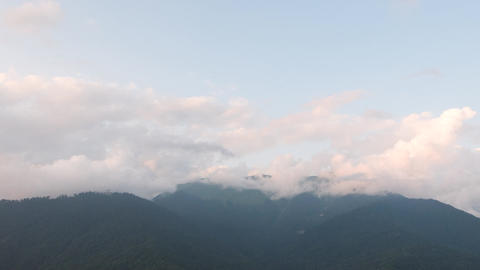 Mountains in the clouds. Zoom. Time Lapse. Sochi, Russia Footage