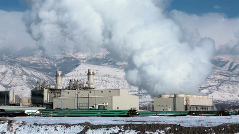 Electrical power plant natural gas industrial park HD 0196 Footage