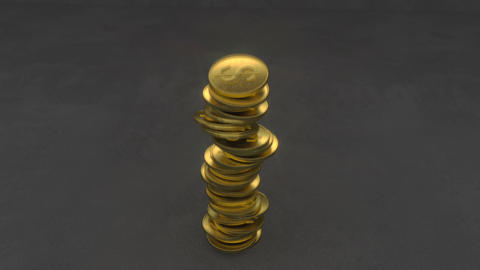 Falling stack of golden coins 3D render animation Animation