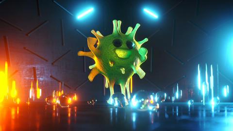Virus character is dancing 3D render seamless loop animation Animation