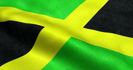 closeup of animation waving jamaica flag, cross stripes, national symbol of Live Action
