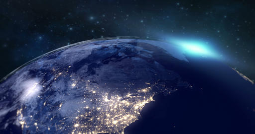 blue planet earth from space showing europe continent at night, globe world with blue glow edge and Live Action