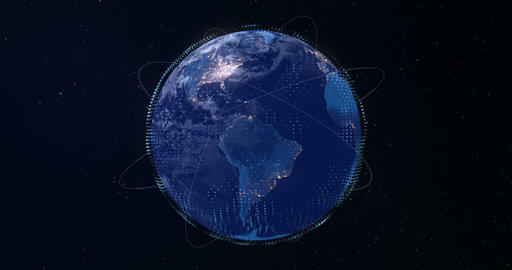 3d digital rendering blue planet earth globe, with glow connection point, internet network media Live Action