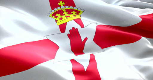 closeup of waving north ireland flag animation, with red cross background and gold crown, national Live Action