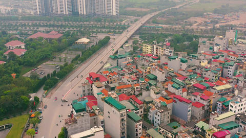 HANOI, VIETNAM - APRIL, 2020: Aerial panorama view of the urban multi-level ライブ動画