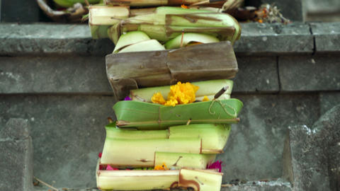 Cinematic footage of traditional Bali temple offerings Indonesia Nusa Lembongan Live Action